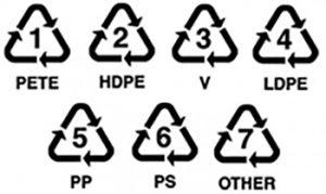logo triangle recyclage, PETE, récup estrie